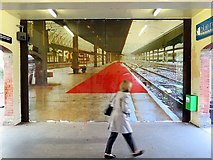 """NZ3671 : Trompe-l'Å""""il, Cullercoats Metro Station by Andrew Curtis"""