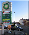 ST3087 : November 21st 2015 fuel prices at a Stow Hill BP filling station, Newport by Jaggery