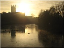 SO8454 : Sunrise behind Worcester Cathedral #2` by Philip Halling