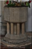 TM1273 : Yaxley; St. Mary the Virgin Church:The font, contemporaneous with the arcade pillars by Michael Garlick