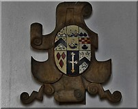 TM1273 : Yaxley; St. Mary the Virgin Church: Tudor wooden armorial mounted on south aisle wall 1 by Michael Garlick