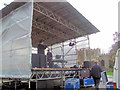 SP9211 : Preparing the stage in Church Square for the Tring 2015 Victorian Evening by Chris Reynolds