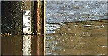 J3470 : Depth marker, Stranmillis weir, Belfast (30 November 2015) by Albert Bridge