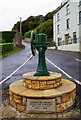 G8777 : Old village pump and commemorative stone for Seumas MacManus, Mountcharles, Co. Donegal by P L Chadwick