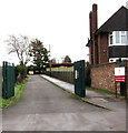 SJ8104 : School entrance road from Shaw Lane, Albrighton by Jaggery