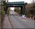 SJ8005 : Cones under Newport Road railway bridge near Cosford by Jaggery