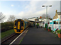 SH4938 : An Arriva Wales train at Criccieth Station by John Lucas