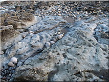 J3730 : Silurian greywackes in the wave cut platform off the Central Promenade by Eric Jones