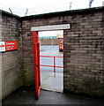 ST2995 : Red entrance gate to the Royal Mail Callers Office in Cwmbran town centre by Jaggery