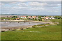 NU1341 : View Holy Island village by Philip Halling