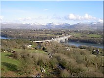 SH5371 : Britannia Bridge from the Marquess of Anglesey column by Stephen Mills