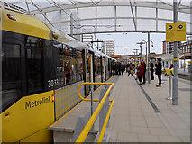 SJ8499 : Manchester Victoria Metrolink Stop, Platform D by David Dixon