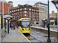 SJ8498 : Metrolink Tram at Shudehill by David Dixon