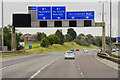 SE3026 : Sign Gantry over Eastbound M62 near to East Ardsley by David Dixon