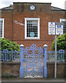 SO1091 : Cast iron gate to Masonic Hall, Milford Road, Newtown, Powys by Robin Stott