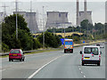 SE4423 : Eastbound M62 Approaching Ferrybridge Power Station by David Dixon
