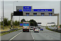 SE4523 : Eastbound M62, Overhead Sign Gantry near Junction 32A by David Dixon