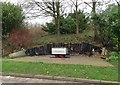 SJ7951 : Audley: vandalised seats with coal tub near Community Centre by Jonathan Hutchins