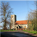 TL6149 : West Wickham church and a bend in the road by John Sutton
