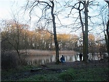 SE2034 : Fishers at Woodhall Lake by Stephen Craven