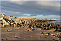 NJ2370 : Breakwater by the mouth of the Lossie by Des Colhoun