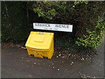 TL1314 : Kirkwick Avenue sign & grit bin by Adrian Cable