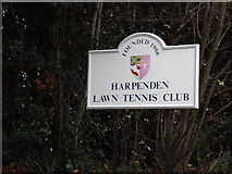 TL1314 : Harpenden Lawn Tennis Club sign by Adrian Cable