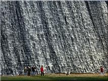 SK1789 : Water cascades over the Derwent Dam by Steve  Fareham