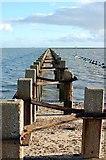 TQ9485 : Cold War defence boom, Pig's Bay, Shoeburyness by Trevor Harris