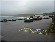 SW3526 : Sennen Cove harbour car park - Midday, Christmas 2015 by Richard Law