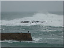 SW3526 : The tip of the breakwater at Sennen by Rod Allday