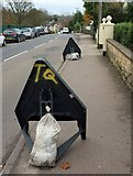 SX9065 : Signs standing, Cricketfield Road, Torquay by Derek Harper