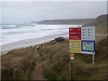 SW3526 : Path leading down through the dunes to Sennen beach by Rod Allday