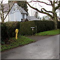 SO7542 : Yellow hydrant marker, Mathon Road, Colwall by Jaggery