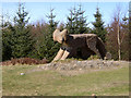 """SD3495 : """"Red Sandstone Fox"""", Grizedale Sculpture project by Kate Jewell"""