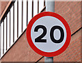 J3474 : 20 mph speed limit sign, Gloucester Street, Belfast (January 2016) by Albert Bridge