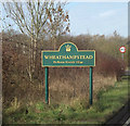 TL1814 : Wheathampstead Village Name sign by Adrian Cable