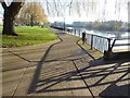 SO8454 : Sun casting shadows on a riverside path by Philip Halling