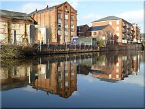 SO8554 : Buildings reflected in Worcester and Birmingham Canal by Philip Halling