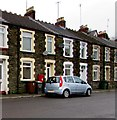 SO1502 : Bristol Terrace postbox, litter bin and wheelie bins, Brithdir by Jaggery