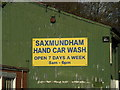 TM3863 : Saxmundham Hand Car Wash sign by Adrian Cable