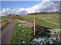 SK1559 : Footpath crossing the Tissington Trail near an old railway milepost by Ian Calderwood