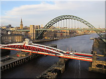 NZ2563 : The Swing Bridge, the Tyne Bridge and the Millennium Bridge (2) by Mike Quinn