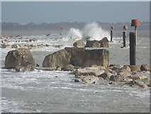 SZ1790 : Hengistbury Head: beach markers and waves by Chris Downer