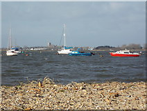 SZ1891 : Mudeford: across Christchurch Harbour towards the priory by Chris Downer