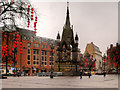 SJ8398 : Albert Square and Memorial on a Very Wet Day by David Dixon