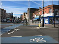 TQ3481 : Blue Cycleway, Whitechapel Road by Des Blenkinsopp
