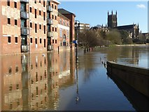 SO8454 : Flooded River Severn at Worcester by Philip Halling