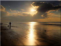 SD2707 : One Man and His Dog: Sunset at Formby Beach by David Dixon