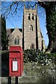 SO9265 : Letter box and Wychbold church by Philip Halling
